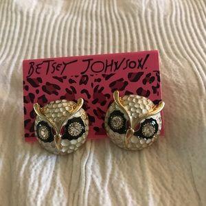 Betsey Johnson Owl Earrings - Black